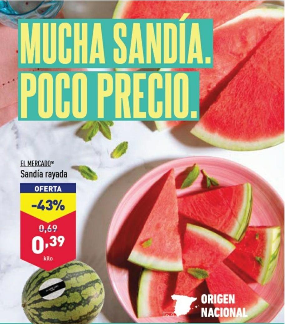 Sandía rayada sin pepitas a 0,39€/Kg en tiendas Aldi desde el 17/7