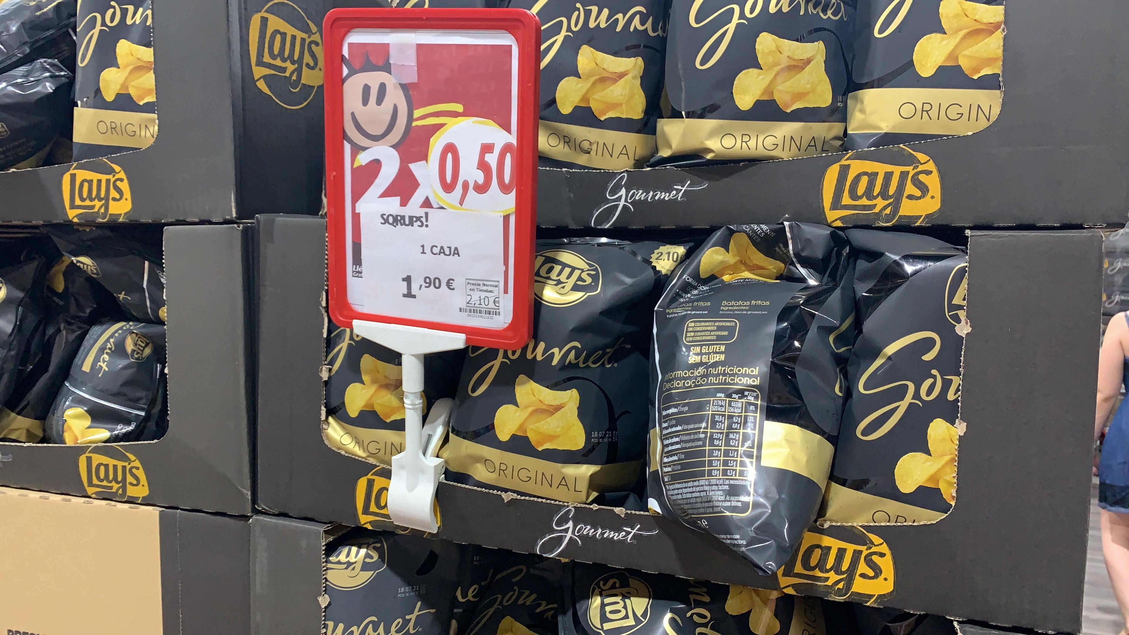1 caja de Patatas lays gourmet con 19 bolsas en sqrups la gavia