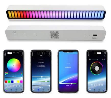 Barra de luz LED con control de sonido y música. RGB