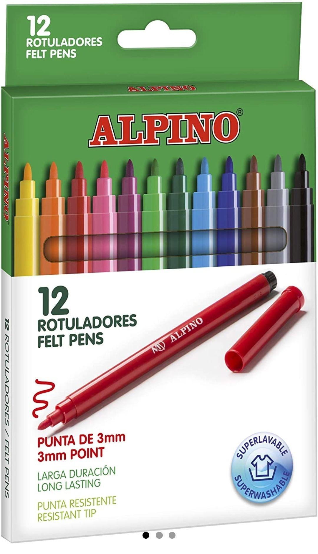 Rotuladores Alpino Coloring para niños - Estuche de 12 Colores con Punta Fina 3mm -