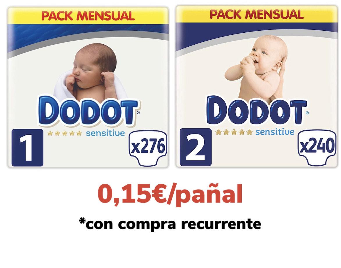 Dodot sensitive talla 1 y 2 a 0,15€/pañal (compra recurrente)