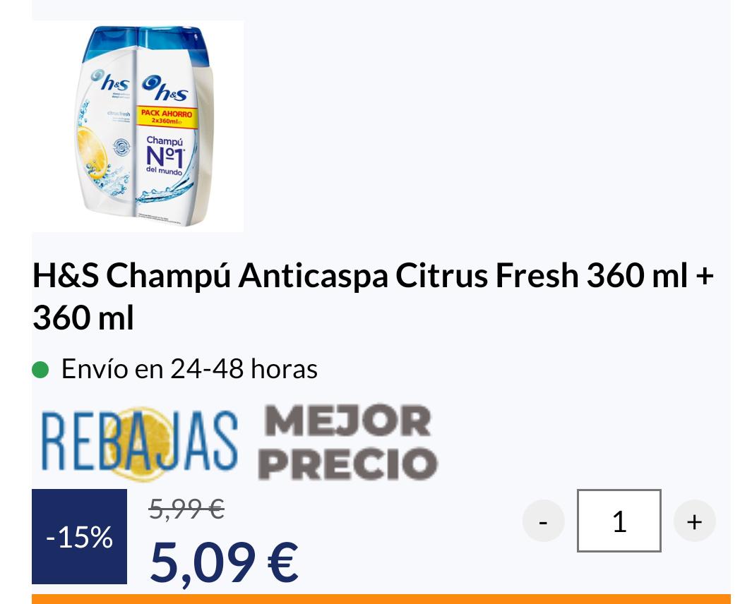 H&S Champú Anticaspa Citrus Fresh 360 ml + 360 ml