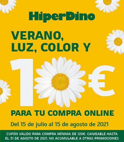 Válido Hasta 15 Agosto. CANARIAS HIPERDINO 10€ de descuento en compra de 120€ para pedidos online