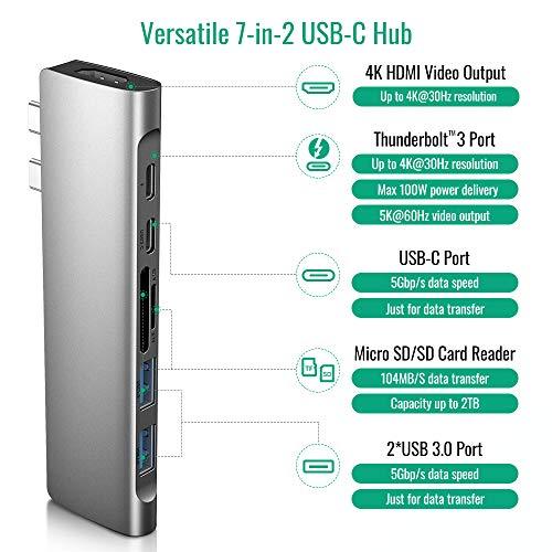USB C Hub MacBook Pro Air,Adaptador Tipo C Hub HDMI, 7 en 2 USB C a HDMI, Thunderbolt 3, 2 USB 3.0, Lector de Tarjetas