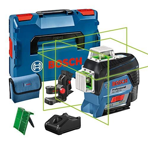 Nivel láser verde Bosch Professional GLL 3-80 CG, conexión Bluetooth, soporte, gama de trabajo hasta 30 m, 1 batería, en L-BOXX, 12 V
