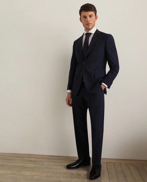 Traje de hombre classic de raya diplomática Azul. Tallas 48 a 58