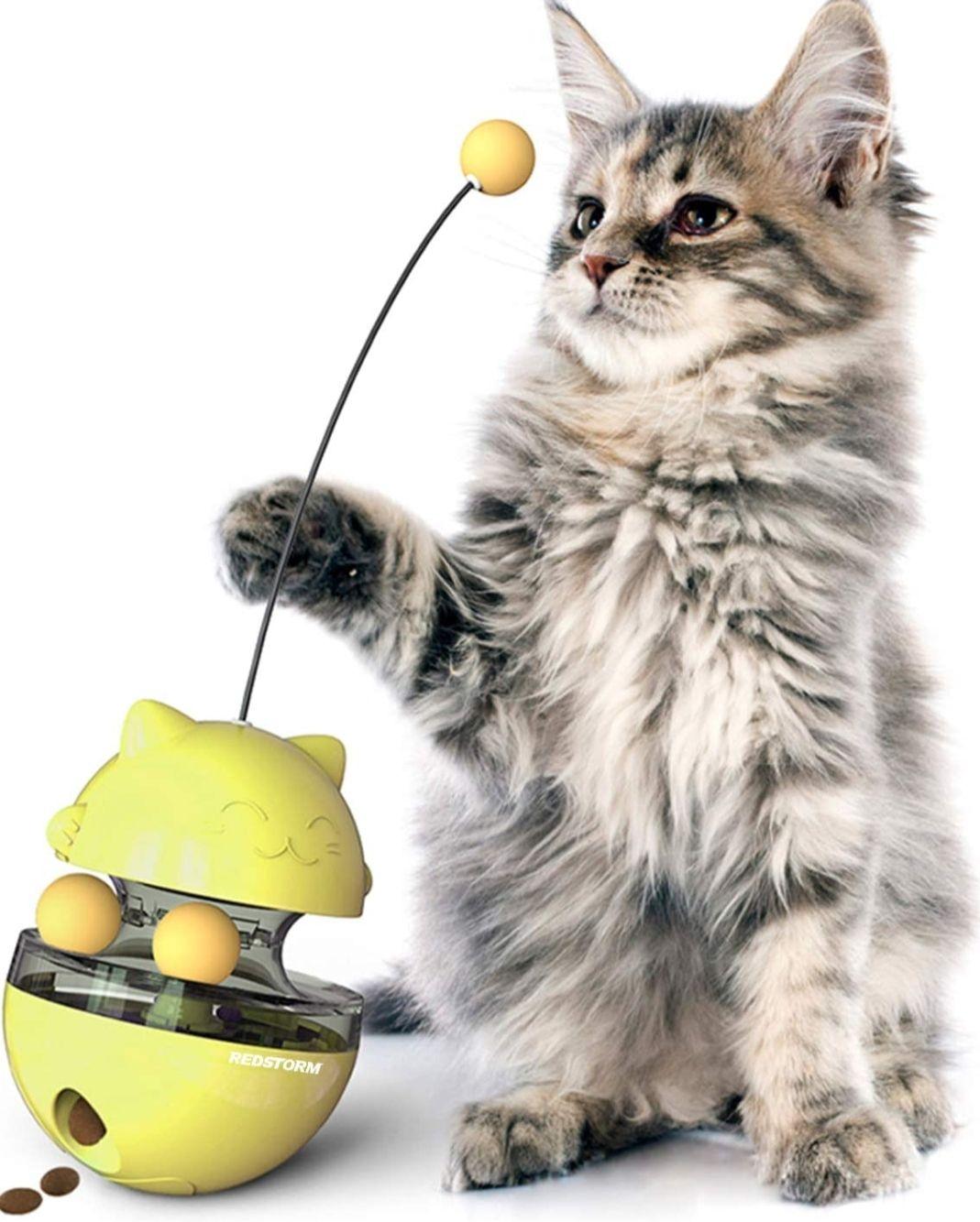 Juguete para gato 4 en 1 dispensador de comida