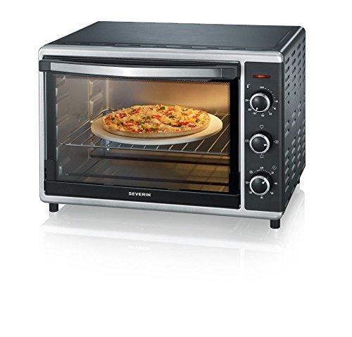 Horno Tostador con convección incluye Piedra para pizza, 1.800 W, 42 L, color plateado y negro