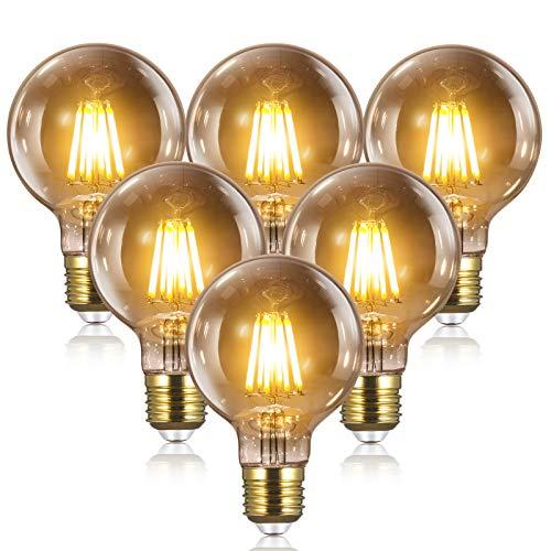 6 Bombillas Vintage Edison LED E27 - 8W(equivalente a 80W) 2700K / 1000LM