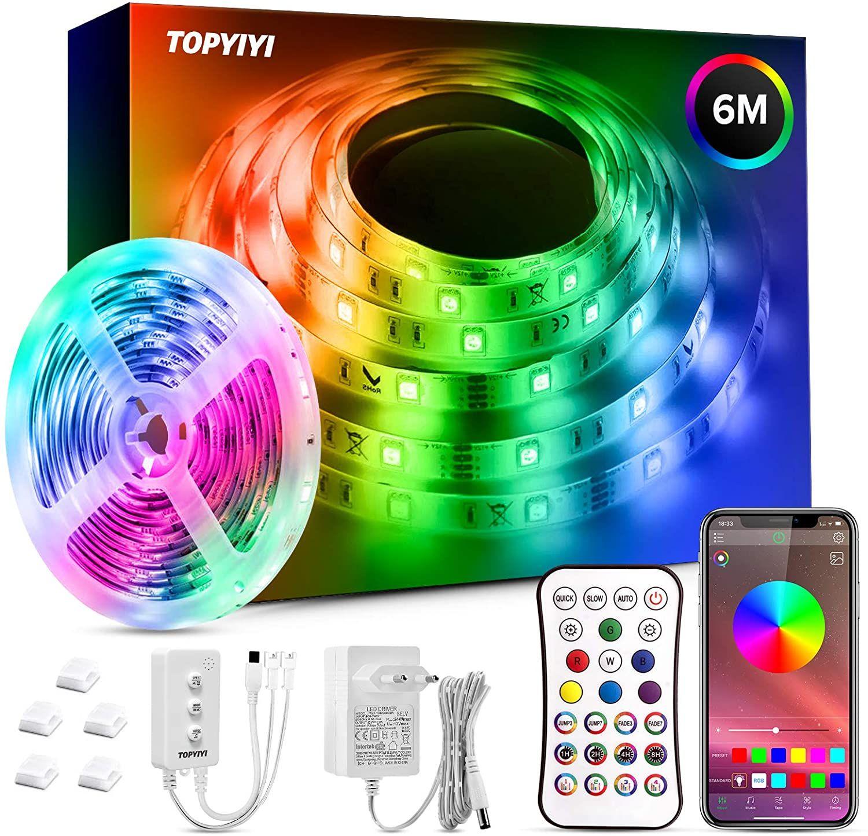 Tiras LED 6M RGB 5050 Música Controladas por APP, IR Control Remoto y Controlador
