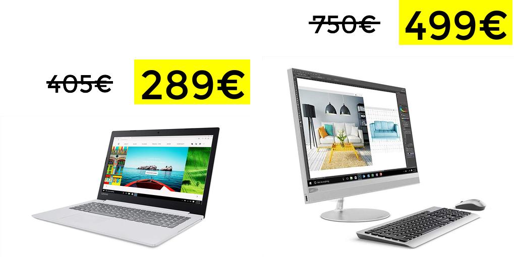Ofertas en básicos Lenovo (Portátil 8GB solo 289€ y AIO I3 por 499€)