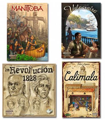 Pack Eurogame Arrakis Calimala, Valparaíso, Manitoba y Revolución 1828