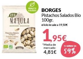 Pistachos salados ecológicos bolsa 100 g. BORGES ECO NATURA