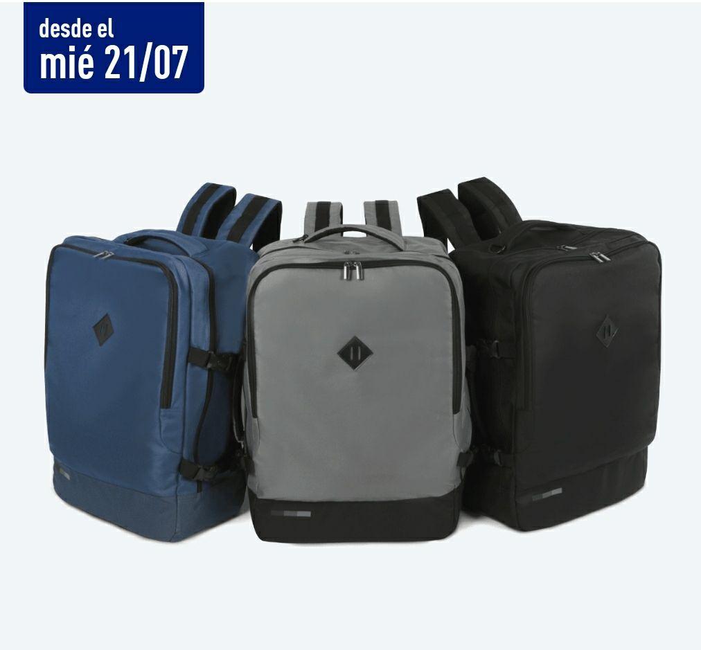 Mochila tamaño maleta cabina avión con acolchado para PC 54x 35x19cm. En tiendas Aldi desde el 21/7