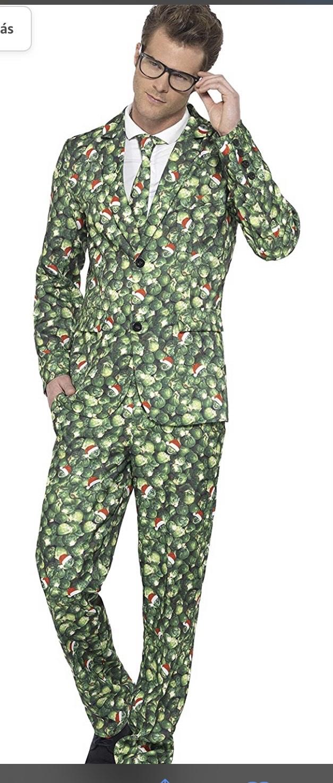 """Disfraz de Col de Bruselas, con Chaqueta, Pantalones y Corbata, Color Verde, L-Tamaño 42""""-44"""""""