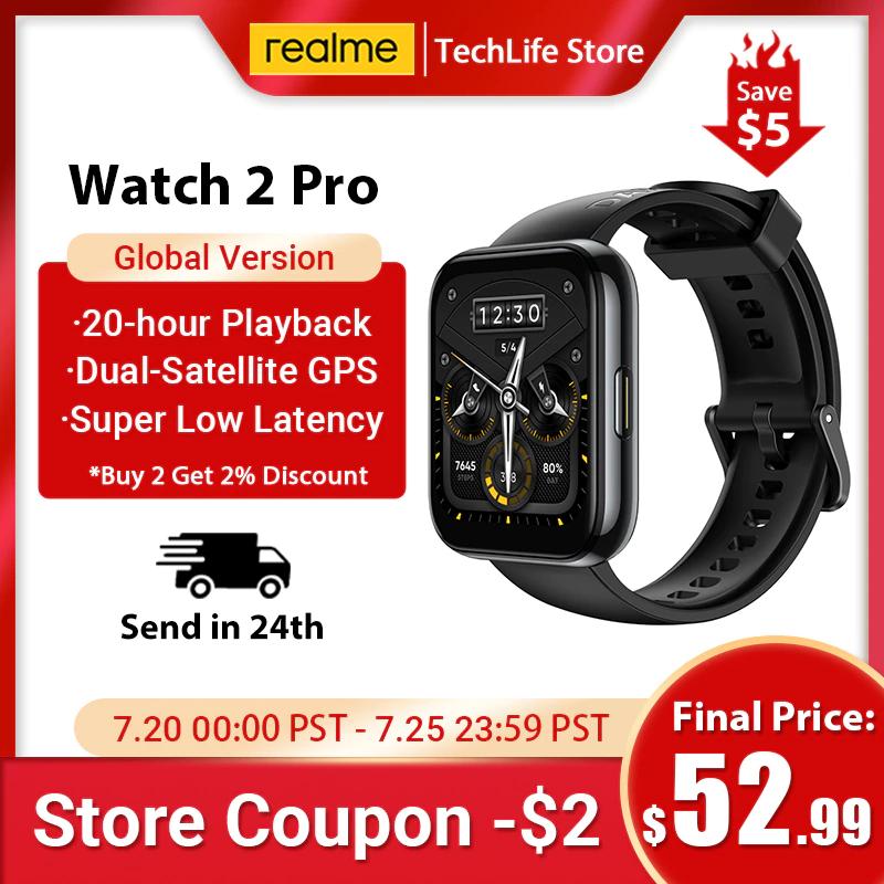 Smartwatch realme Watch 2 PRO GPS, alta precisión, doble satélite, 90 modos deportivos, batería de 14 días