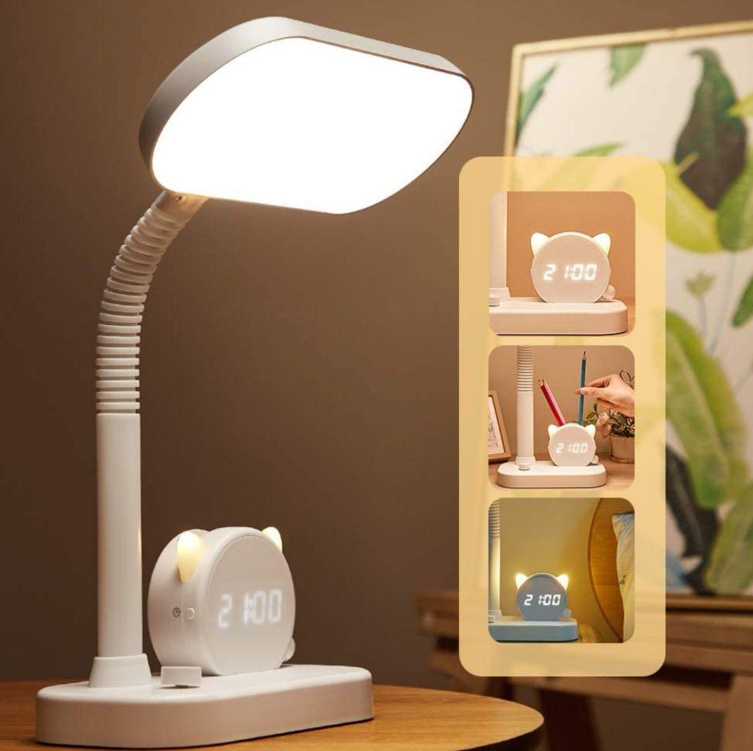 Lámpara de escritorio LED con Reloj, regulable,3 colores + 4 niveles de brillo, USB