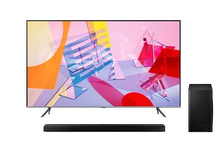 """TV Q64T QLED 125 cm 50"""" 4K Smart TV (2020) + Barra de Sonido Samsung HW-Q60T 5.1ch (2020)"""