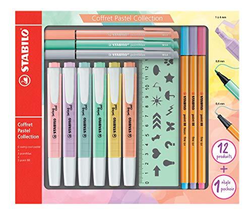 Stabilo Pastel Collection – Estuche mixto de 13 piezas: 6 Stabilo Swing Cool + 3 Stabilo Point 88 + 3 Stabilo PointMax + 1 regla plantilla