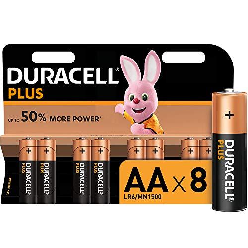 Duracell - Plus AA, Pilas Alcalinas (paquete de 8) 1.5 Voltios LR06 MN1500