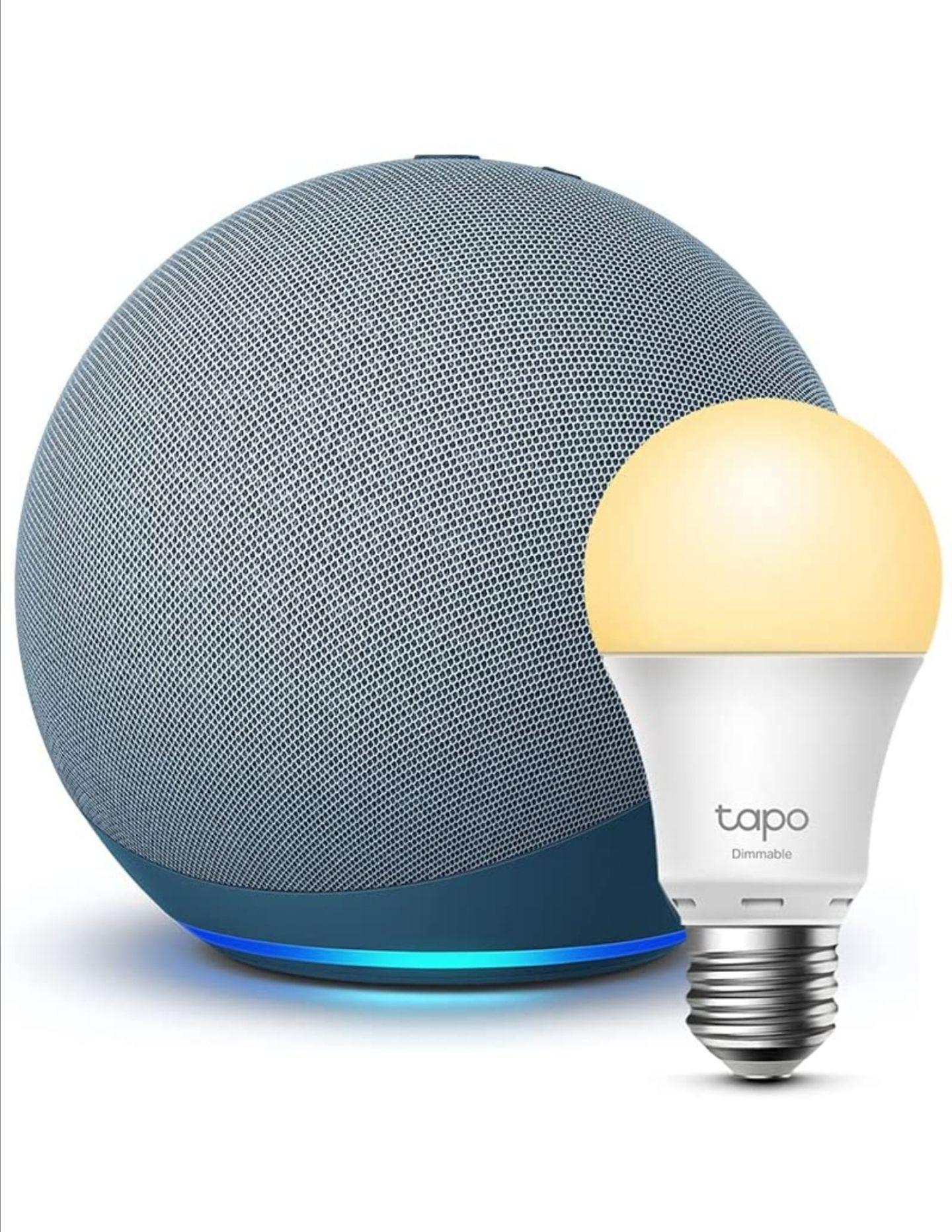 Echo (4.ª generación)    Azul grisáceo + TP-Link Tapo Bombilla Inteligente (E27), compatible con Alexa