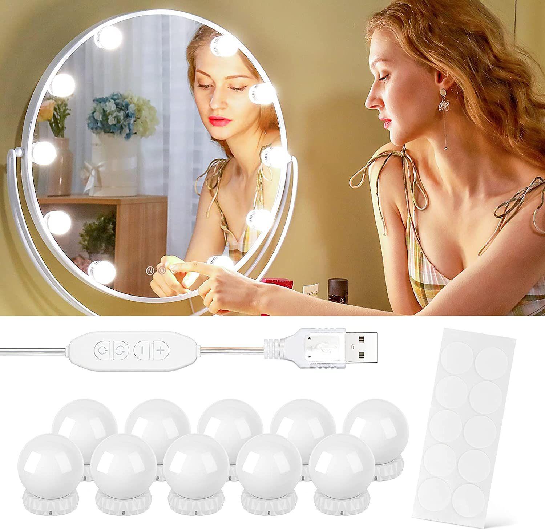 Luces para Espejo de Maquillaje, 10 Luces 10 Niveles de Brillo y 3 Modos de Luz
