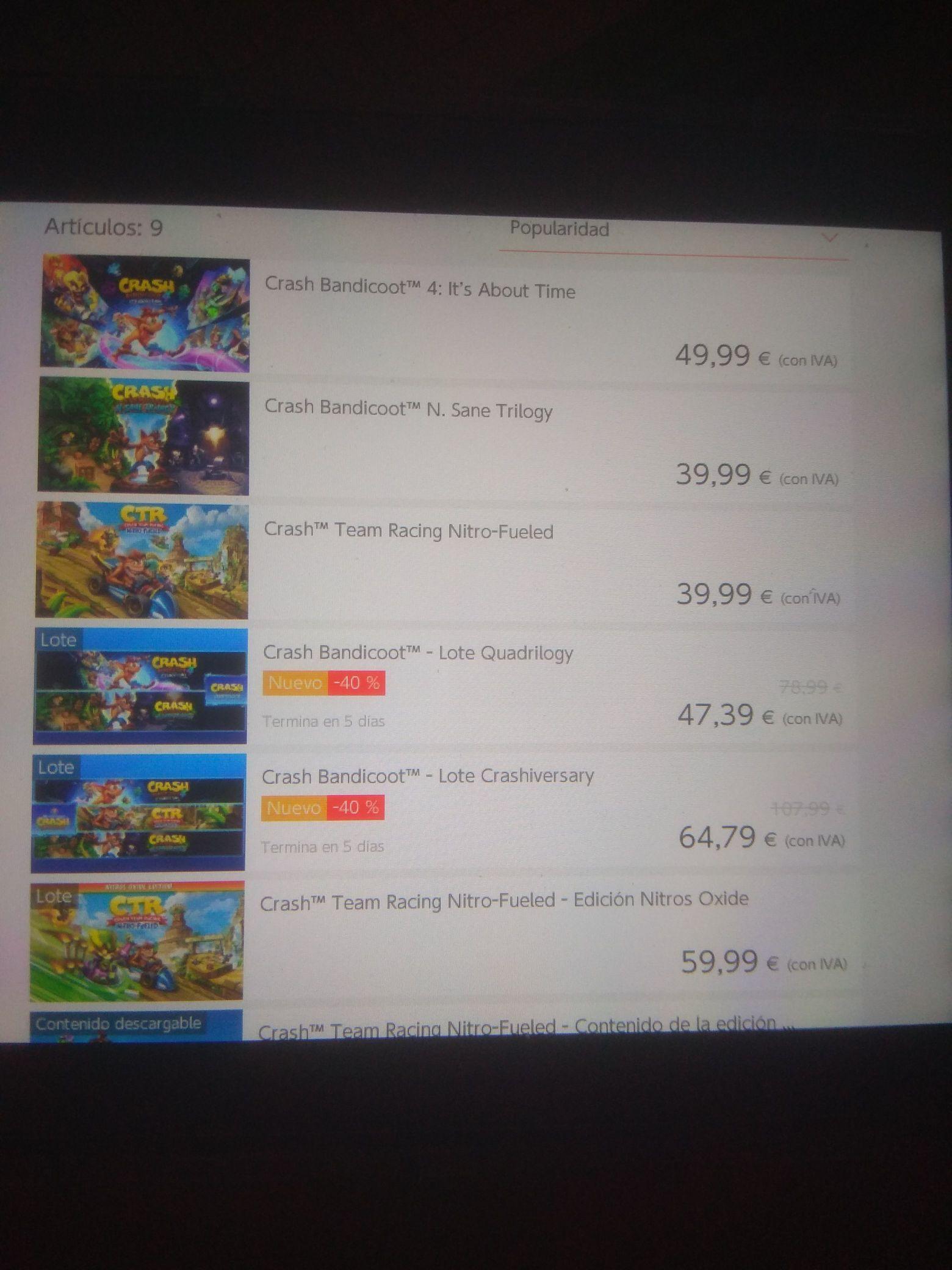 Lote de Crash Bandicoot descuento 40 % - Nintendo Switch eShop