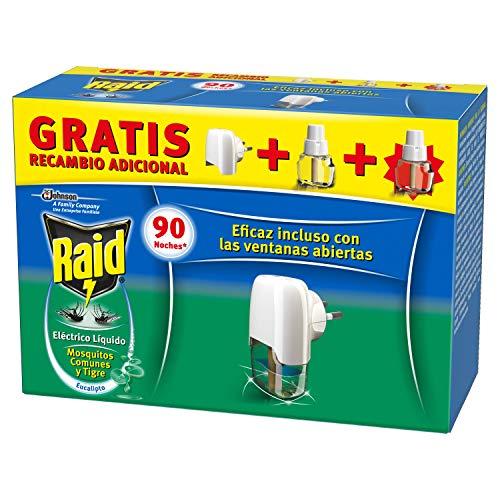 Difusor Eléctrico Anti Mosquitos comunes y Tigre RAID Difusor + 2 recambios de eucalipto