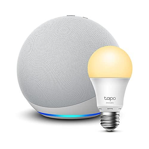 Echo (4.ª generación) (Modelo GRANDE, no es el echo dot) + bombilla inteligente Tp-Link   Controlador de Hogar digital y Alexa