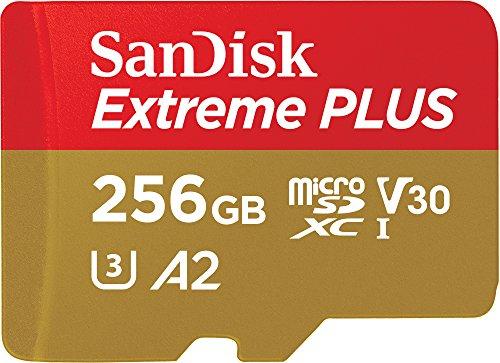 SanDisk Extreme PLUS - Tarjeta de memoria microSDXC de 256 GB con adaptador SD, A2, hasta 170 MB/s, Class 10, U3 y V30