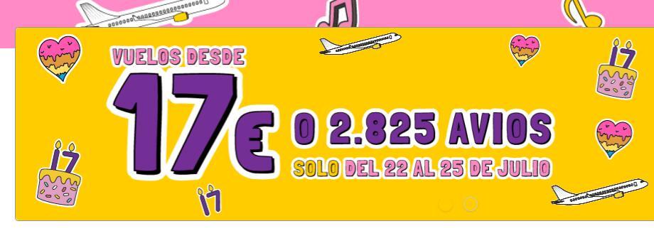 Vuelos desde 17€. Aniversario de Vueling. Para volar del 02/08 al 31/10