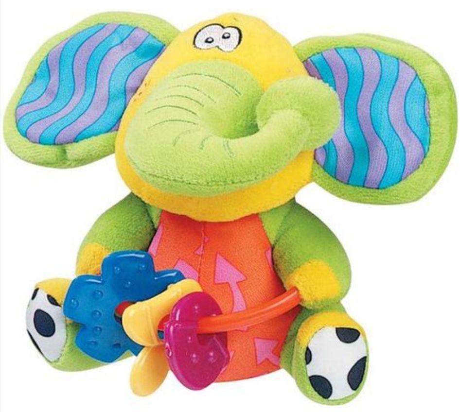 Sonajero Elefante de peluche con anillos de dentición. Sin BPA