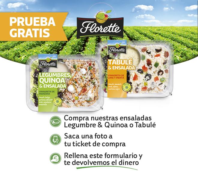 Prueba GRATIS Ensalada Florette Legumbres & Quinoa o Tabulé (Reembolso)