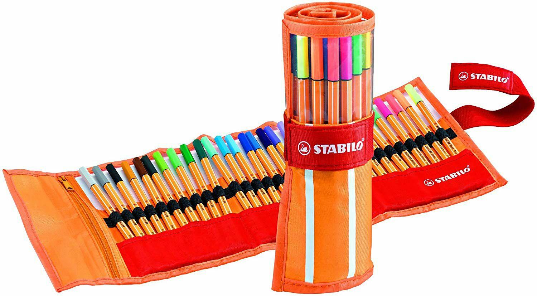 30 Rotuladores punta fina - Estuche premium de tela Rollerset con 30 colores