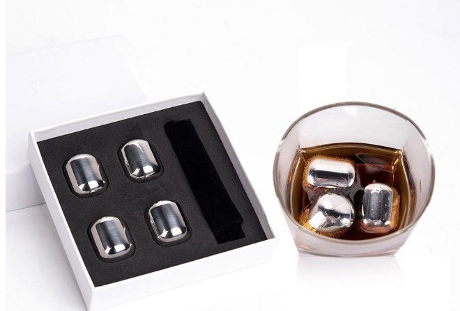 Pack de 4 cubos de hielo en acero inoxidable