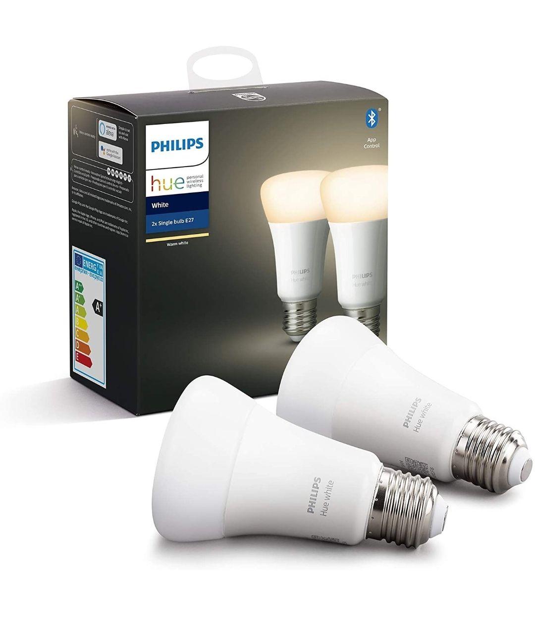 Philips Hue Pack de 2 Bombillas LED Inteligentes E27, con Bluetooth, Luz Blanca Cálida, Compatible con Alexa y Google Home