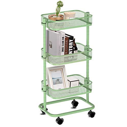 Carrito auxiliar de cocina metálico de almacenamiento con 3 cestas, ruedas y altura ajustable