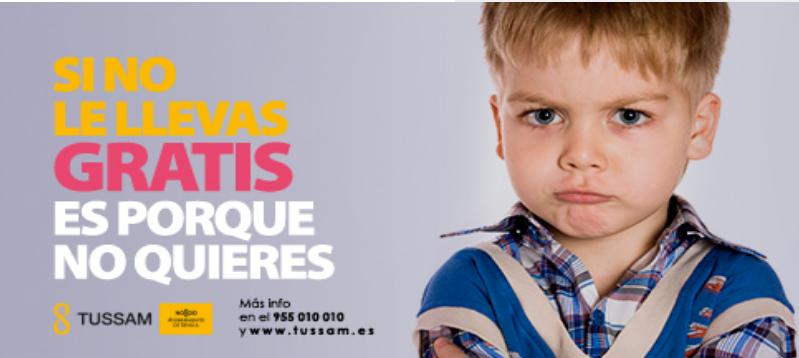 SEVILLA: Acceso gratuito a Bus público para niños de entre 3 y 11 años.