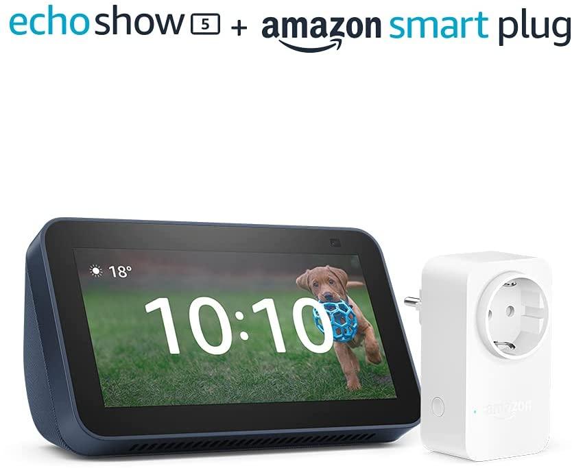 Nuevo Echo Show 5 (2.ª generación, modelo de 2021) + Amazon Smart Plug (enchufe inteligente WiFi), compatible con Alexa