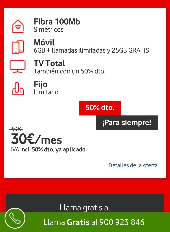 30€ ! VODAFONE: Fibra 100mb + linea móvil 6gb + Tv total HBO
