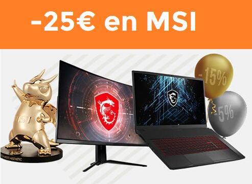25€ de descuento EXTRA en selección monitores y portátiles MSI