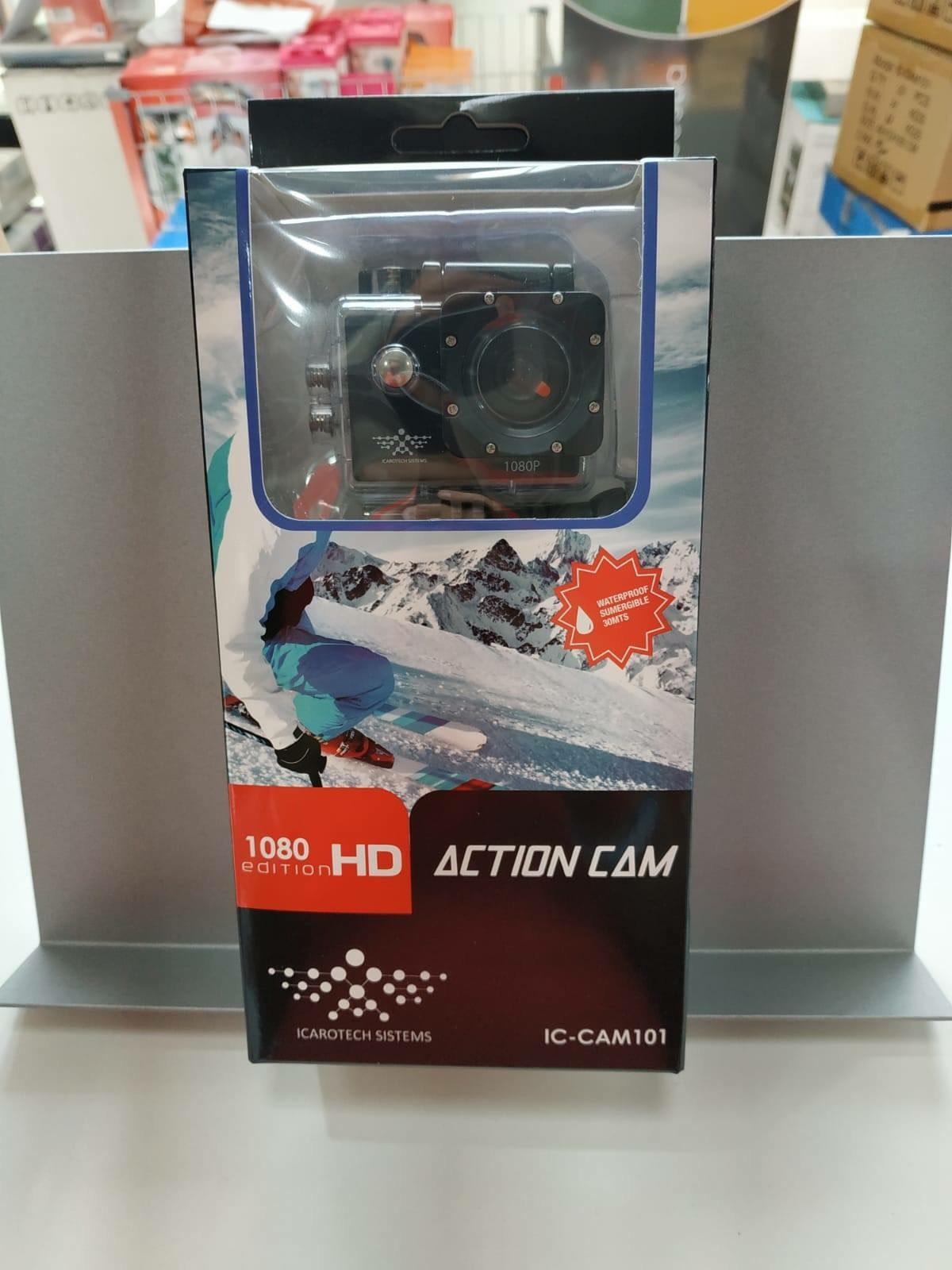"""Cámara de acción IC-CAM101 1080p LCD 2"""" sumergible negro"""