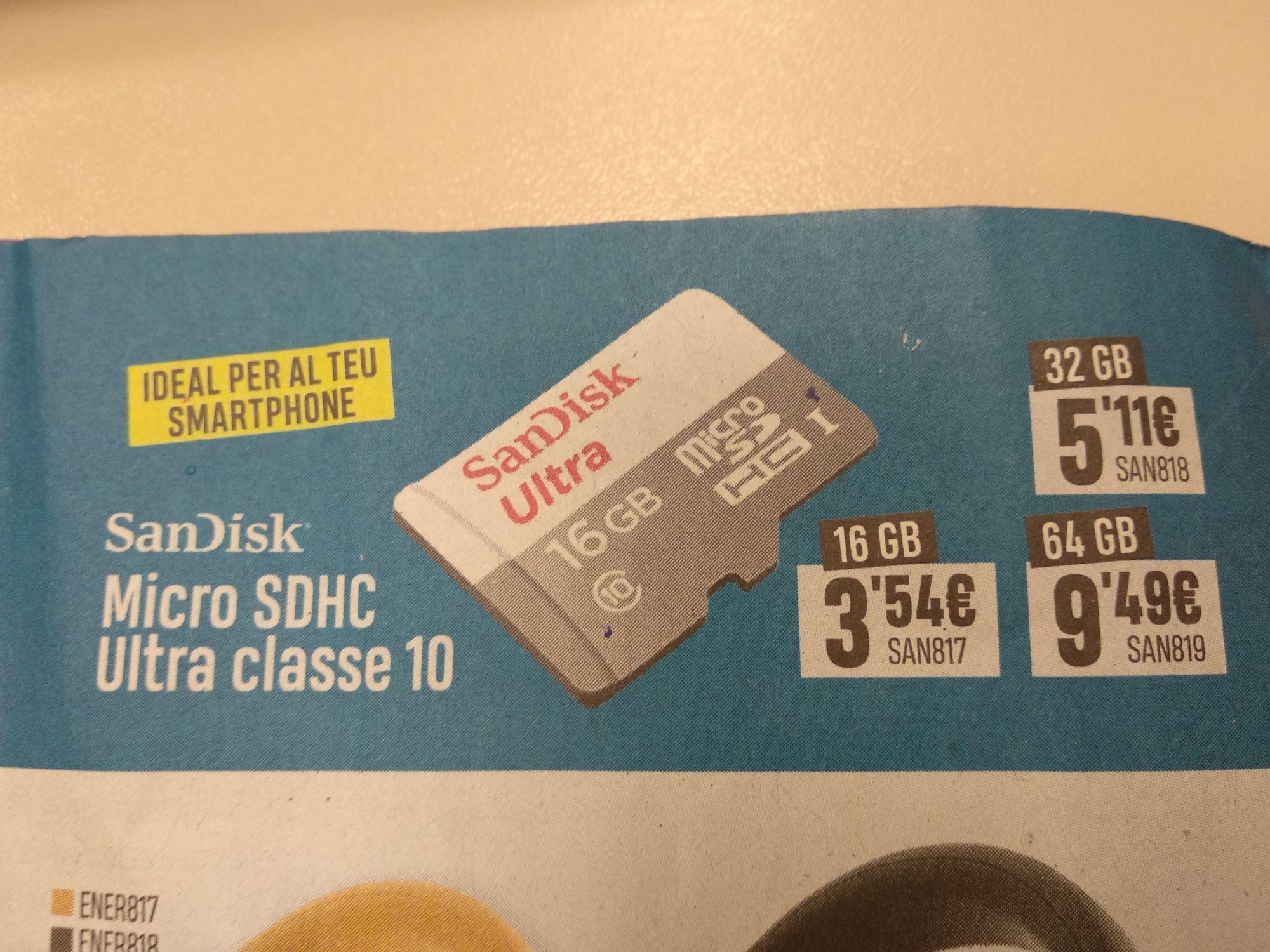 Tarjeta micro SD ScanDisk por menos de 10€