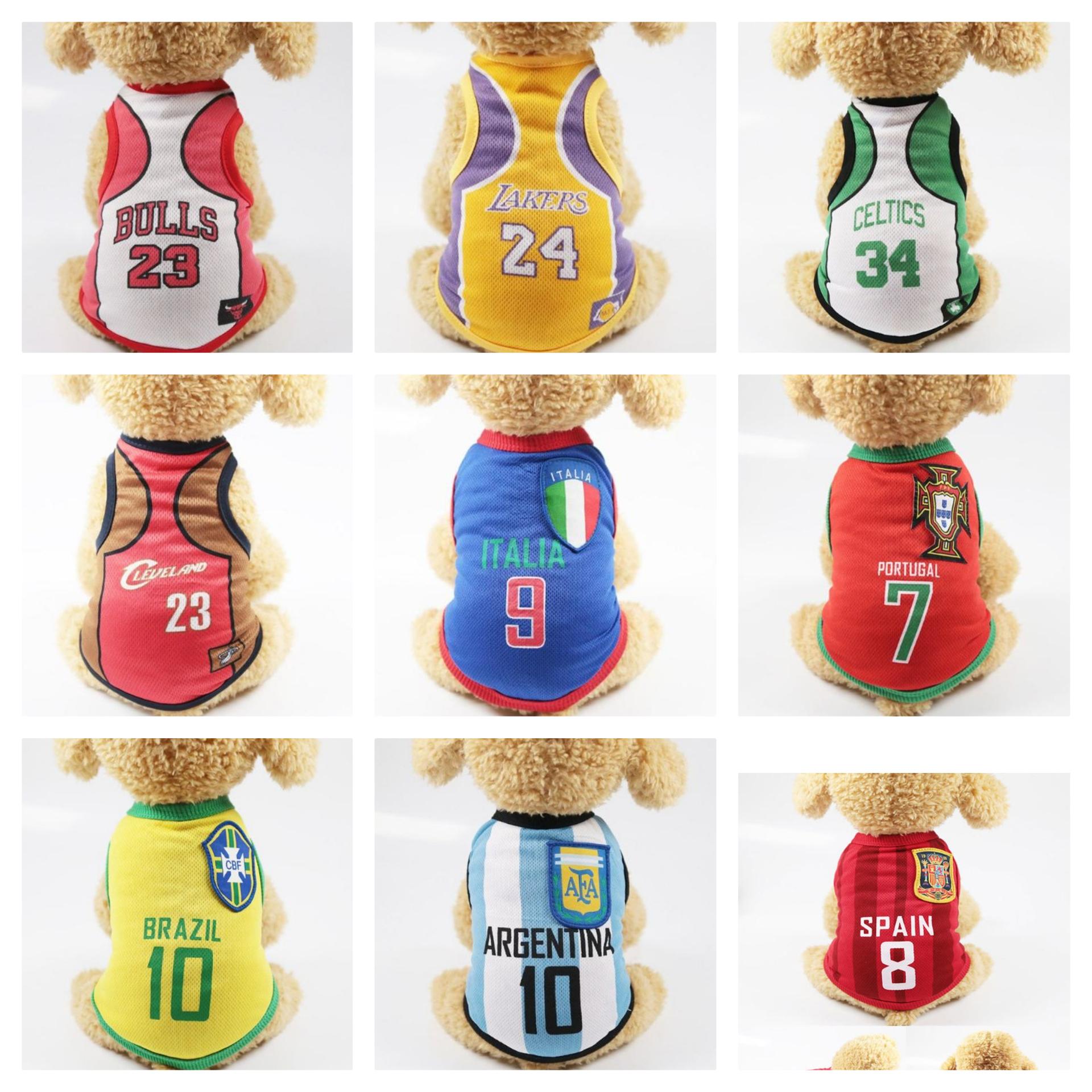 12 Tipos de camisetas de fútbol y baloncesto para mascotas (Tallas XS a XXXL)