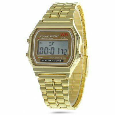 Reloj de pulsera con correa metálica estilo casio