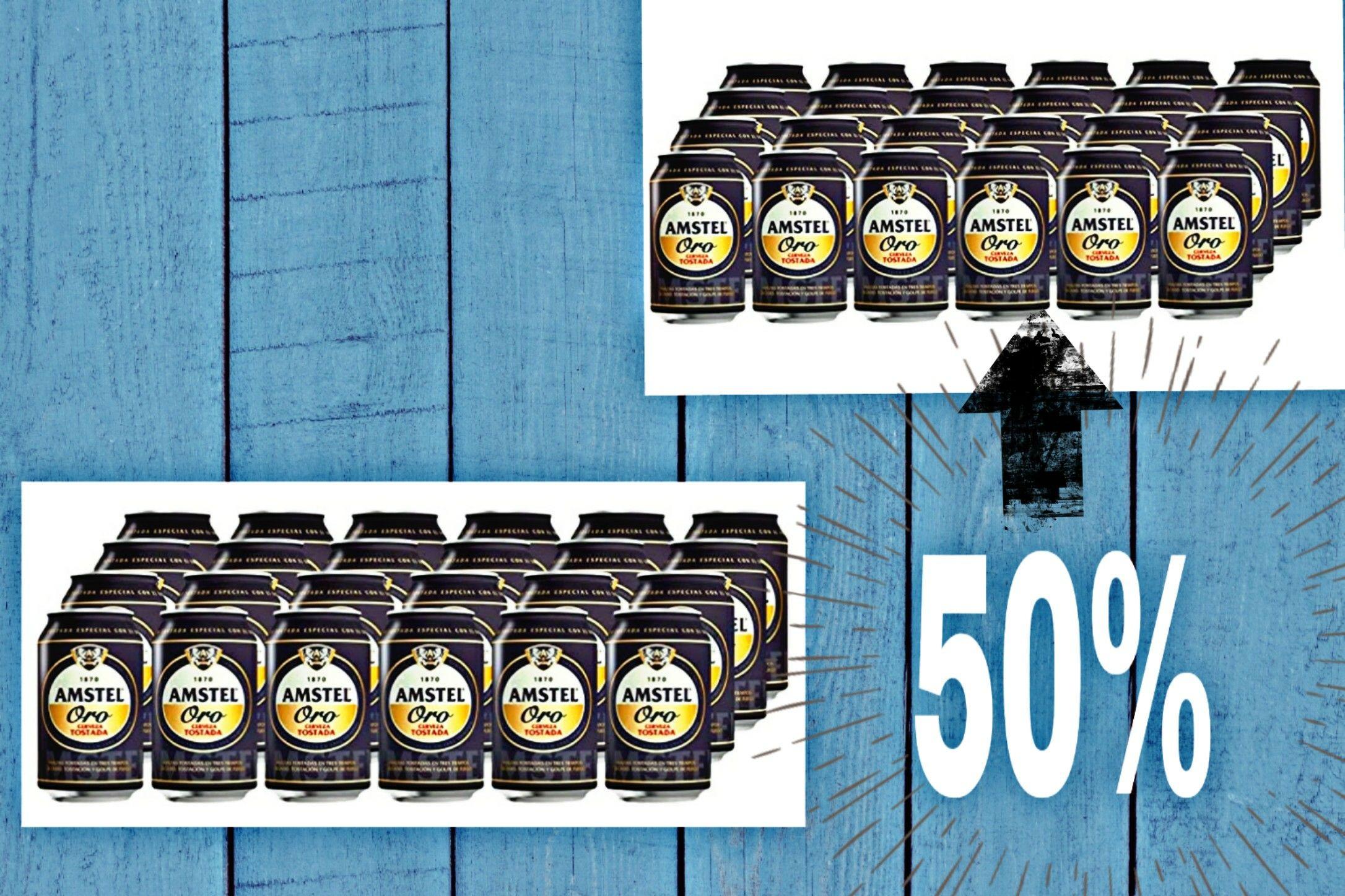 Cerveza Amstel  Oro 48 latas solo 23.4€ - 2º Pack al 50%