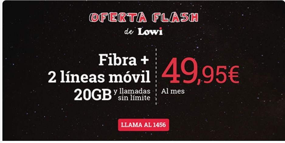 Lowi - Fibra + 2 líneas de móvil 20GB y llamadas sin límite por 49,95€/mes