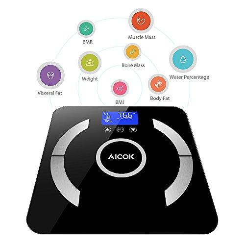 Báscula Digital Aicok con medidor de grasa corporal