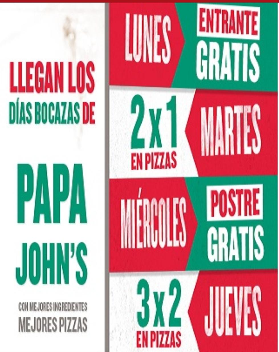 Ofertas Papa Johns septiembre HOY 2x1