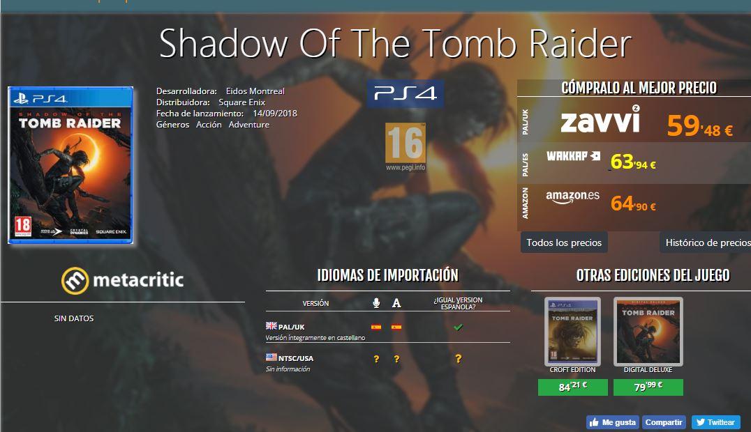 Shadow of the Tomb Raider (PS4) edición normal física